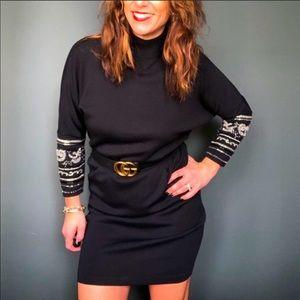 1990's Vintage Black Midi-Dress with Gold Embelish
